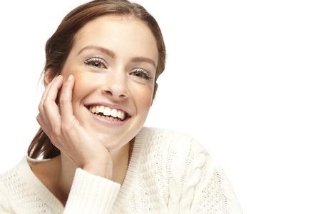 白い背景の上の美しい若い女性の肖像画 写真素材