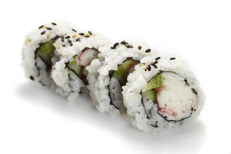 inside out: Sushi uramaki, inside out, california roll, on a white background.