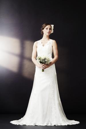 Elegant bride in wedding dress photo