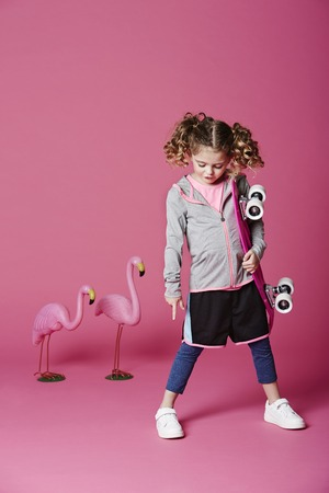 casual hooded top: Skater girl with board and flamingoes