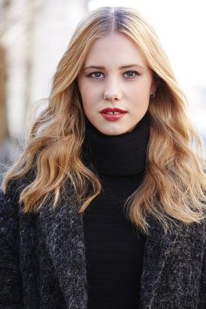 strawberry blonde: Portrait of beautiful strawberry blonde woman