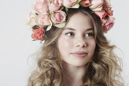 sweet sixteen: Close up of beautiful flower girl,  looking away