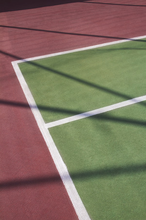 marking up: Close-up of tennis court markings Stock Photo