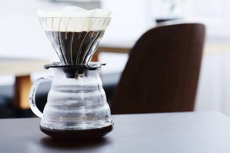 percolator: Fresh coffee percolating into glass
