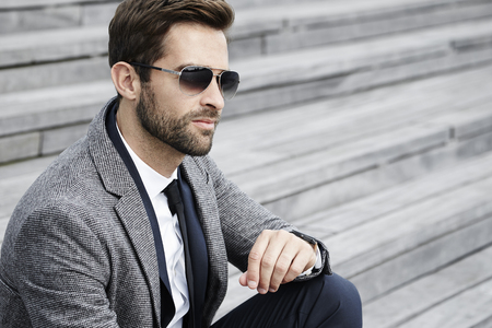 cool dude: Cool business dude on staircase