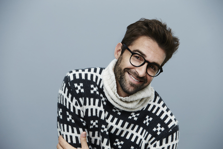 knitwear: Knitwear and spectacles on handsome guy