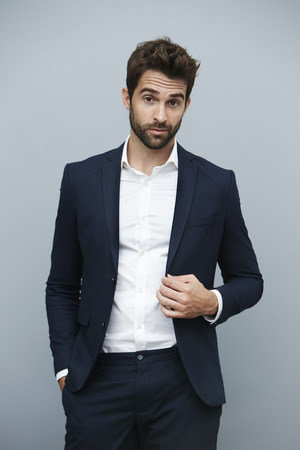 suit jacket: Confident man in smart suit jacket, portrait