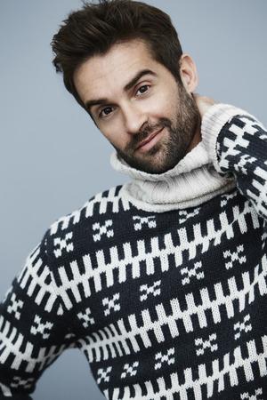 knitwear: Stubble dude in fashion knitwear