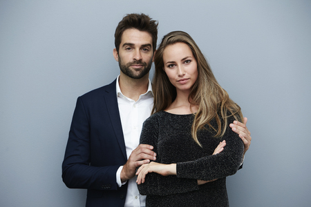 open collar: Handsome couple in smart clothing, portrait