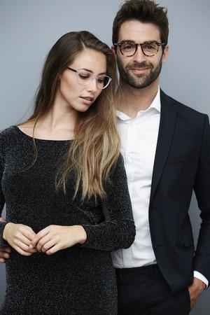 아름 다운 커플 안경, 초상화를 입고 스톡 콘텐츠
