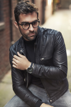cool dude: Cool dude in leather jacket and glasses