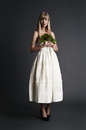 Beautiful bride in white, portrait Stock Photo