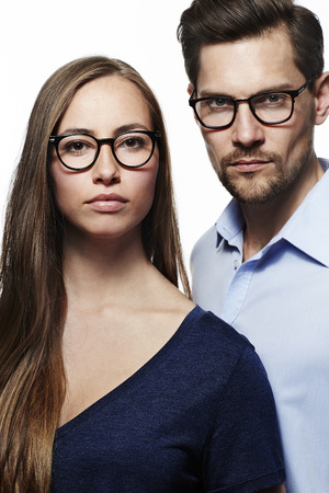 wearing spectacles: Serious couple wearing spectacles, portrait