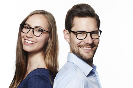 Beautiful couple in spectacles, portrait