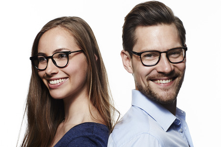 open collar: Happy couple wearing glasses, smiling