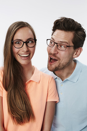 messing: Couple smiling and messing about
