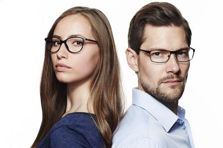Seriously good looking couple, looking at camera Standard-Bild