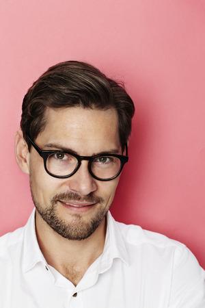 open collar: Handsome guy in spectacles in studio