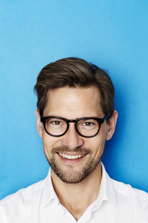 open collar: Portrait of guy in glasses, studio