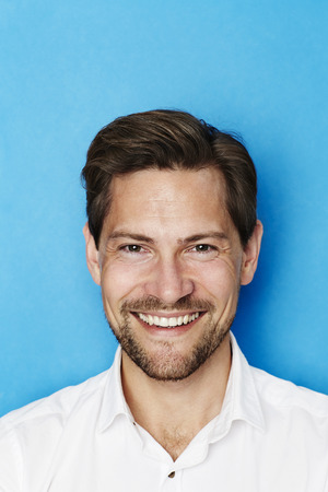 open collar: Happy man smiling at camera, portrait
