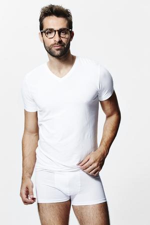 Guy in white underwear, portrait Stock Photo