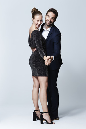 Stunning couple dancing in studio, portrait Stok Fotoğraf