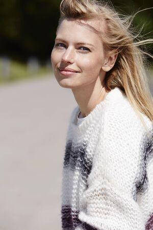 Babe in woolen jumper, portrait