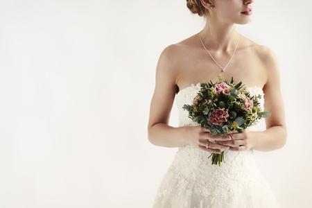 흰색 배경에 꽃 소녀, 스튜디오 스톡 콘텐츠