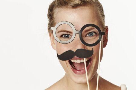 Beautiful woman in fancy dress disguise, portrait Stock Photo