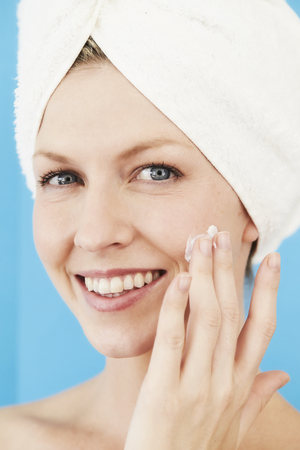 Skin care for beautiful woman, close up