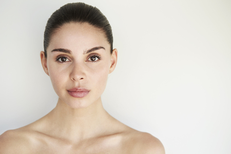 Portrait of beautiful woman with brown eyes Stock Photo