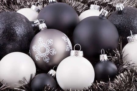black white and taupe coloured christmas decorations ornaments photo - Black Christmas Tree Ornaments