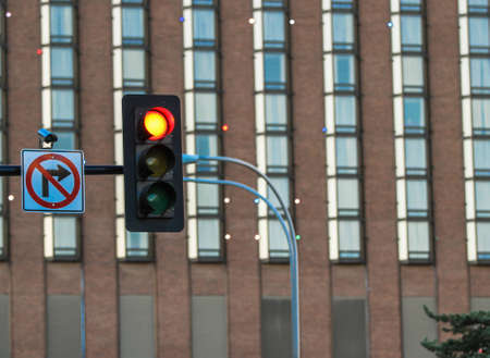 stop light and no turn sign