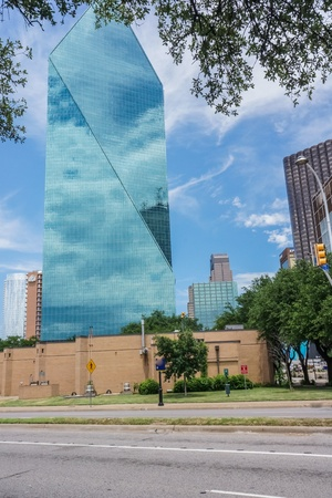 Modern day architecture in down town Dallas over the summer