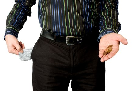 man shows empty pocket and little money isolated on white background