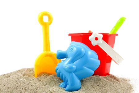 plastic colorful play toys at the beach