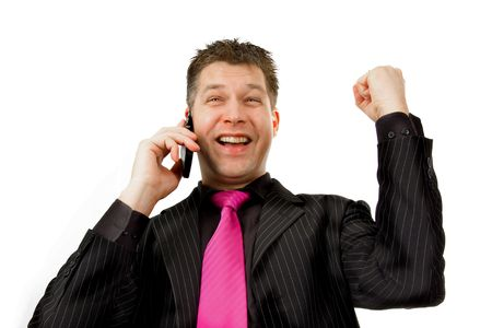 Happy businessman on the phone Stock Photo - 4963184