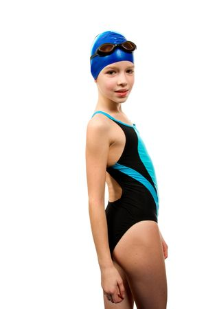 swimming suit: Girl in swimsuit isolated on white background