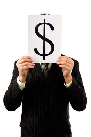 Businessman is holding a dollar mark