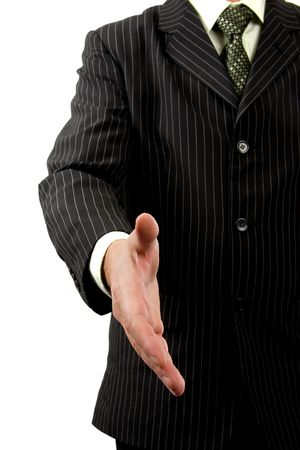 contended: Businessman is shaking your hand Stock Photo