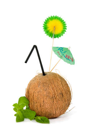 Refreshing tropical coconut drink isolated on white background Stock Photo - 4983314