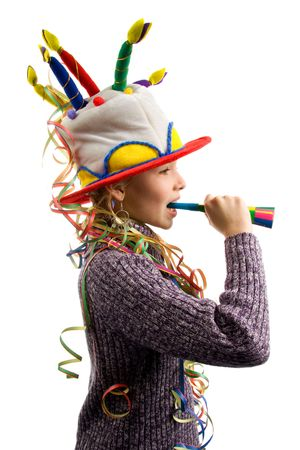 children celebration: Birthday girl with streamers and horn Stock Photo