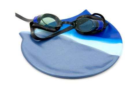 snorkle: Dive goggles with bathing cap, isolated on white background