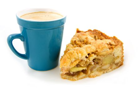 Coffee in blue cup with slice apple pie isolated on white background Stock Photo - 5001900