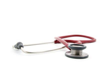 pediatrist: Red stethoscope isolated on white background