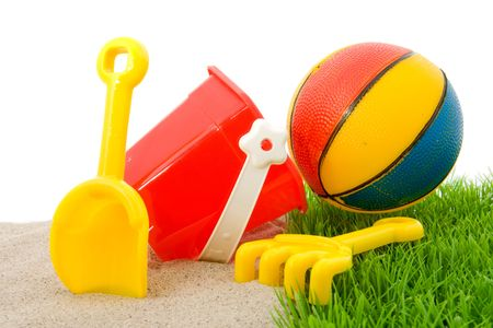 Plastic toys for beach and vacation Stock Photo