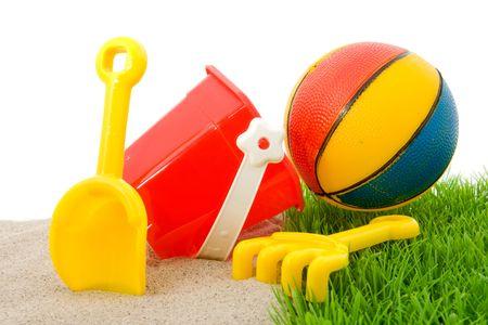 Plastikowymi zabawkami dla plaży i wakacje Zdjęcie Seryjne