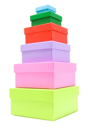 stacked colorful boxes isolated on white background Stock Photo - 5005637
