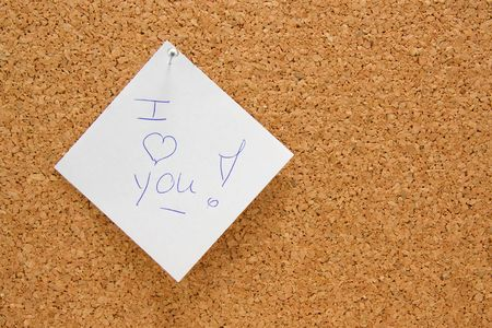 memo board with message: I love you photo