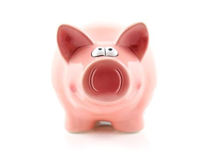 Pink piggy bank isolated on white background Stock Photo - 5176092